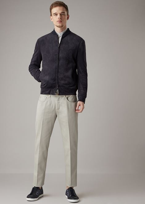 Tapered-fit low-waist jeans in garment-dyed herringbone-weave fabric
