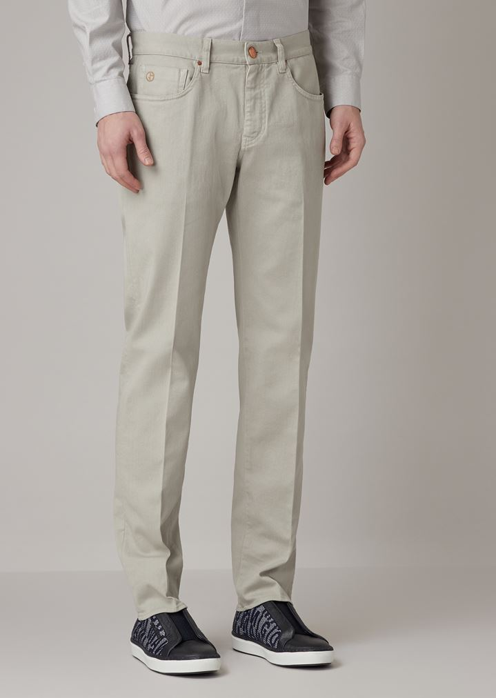 2a917fac388 Tapered-fit low-waist jeans in garment-dyed herringbone-weave fabric | Man  | Giorgio Armani