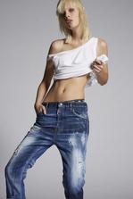 DSQUARED2 Bleached Holes Boyfriend Jeans 5 pockets Woman