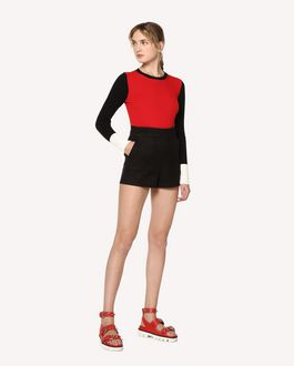 REDValentino Cotton cady shorts with zagana ribbon detail