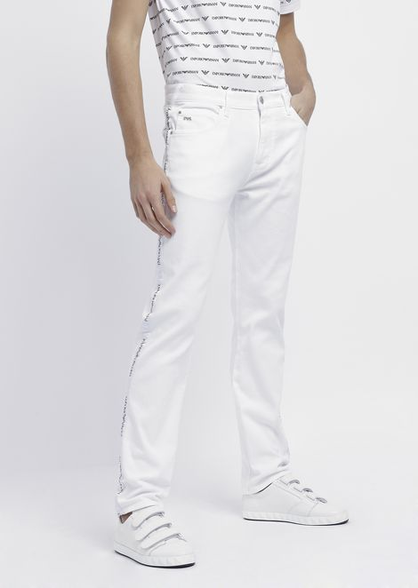 Regular-fit J45 jeans in cotton twill denim with logo side bands