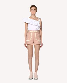 REDValentino Cotton cady shorts with zagana ribbon detail