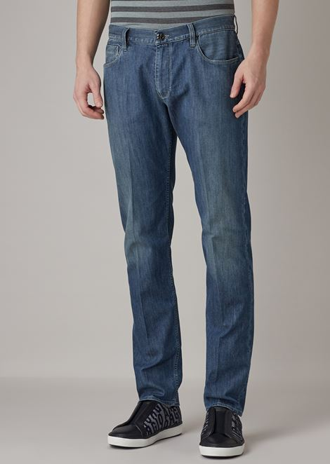 Slim-fit, 7.4 oz stretch denim jeans with vintage stone wash and sandpapering