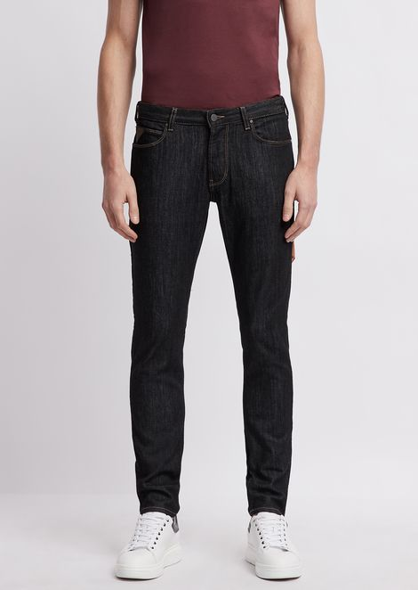 Jeans J36 in denim di cotone twill con impunture a contrasto e foulard logato
