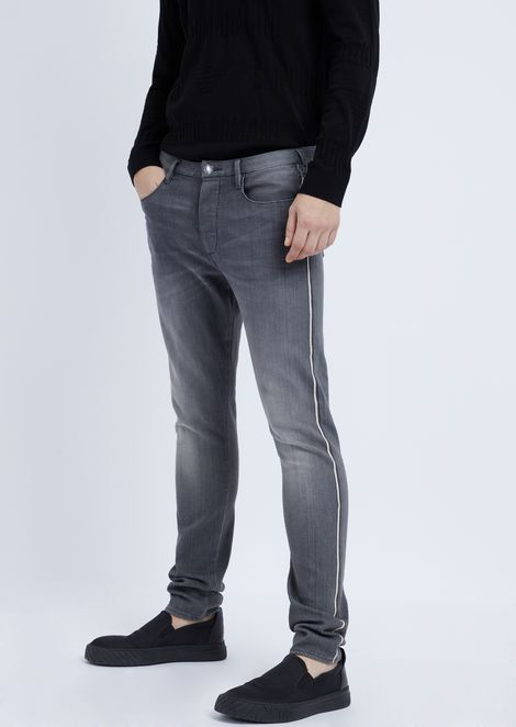 Extra slim-fit stretch denim jeans with outer selvedge