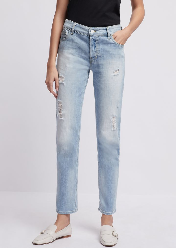 006ade548b Straight-fit, stone-washed J60 denim jeans with rips