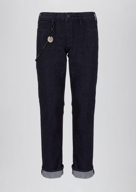 Slim-fit J06 jeans in cotton twill denim with logo key-chain