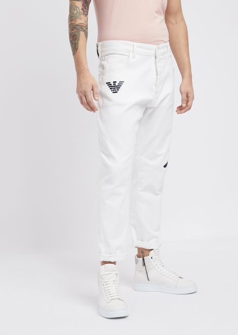 Loose-fit J04 stretch bull cotton jeans with logo prints
