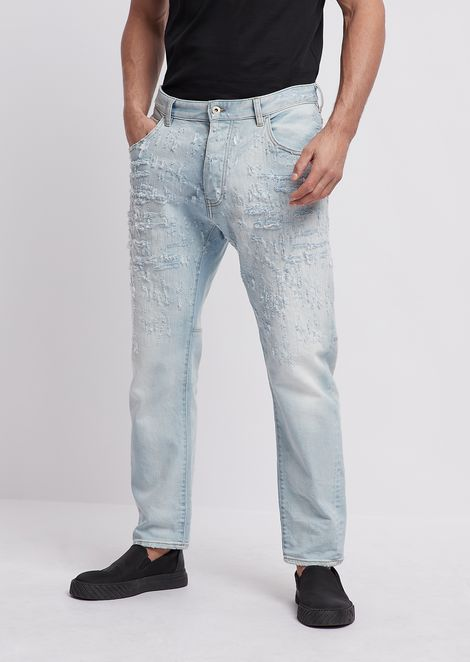 12.5oz loose-fit J04 jeans with stitching and fading