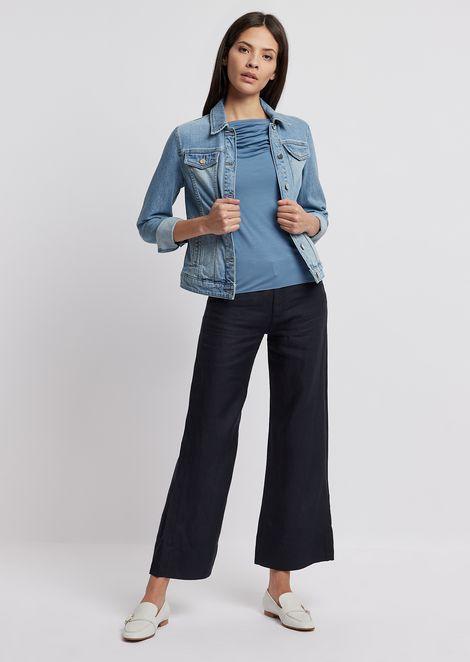 Wide-fit trousers in plain woven linen