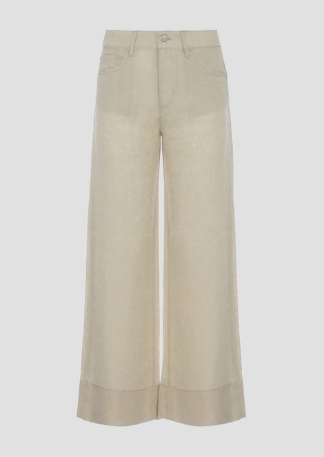 Wide-fit trousers in plain woven linen