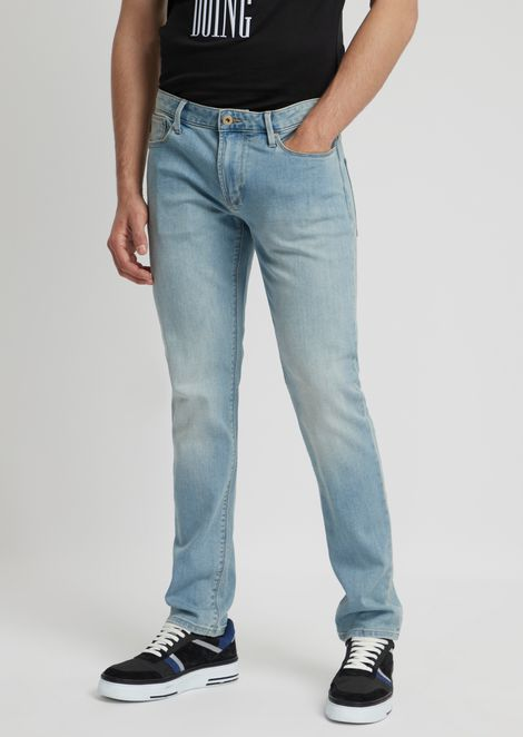 J06 slim-fit stretch cotton jeans with faded effect