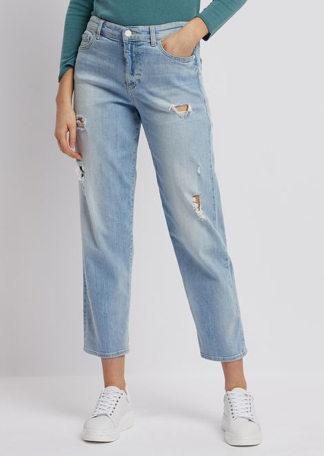 Mom-fit J90 jeans in ripped faded denim