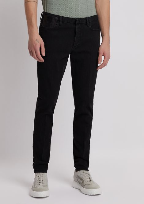 Extra slim-fit J11 jeans in worn denim with leather inserts