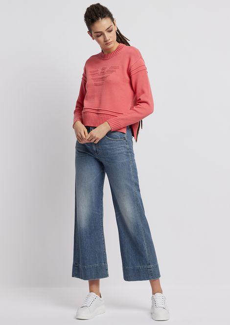 J33 wide-fit, cropped jeans in vintage-effect denim