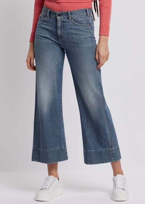 J33 wide-fit, cropped jeans in vintage-effect denim