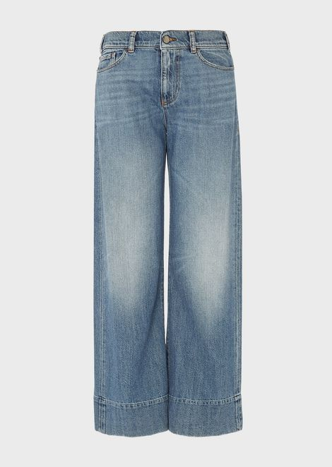 Jeans J33 wid fit cropped in denim effetto vintage