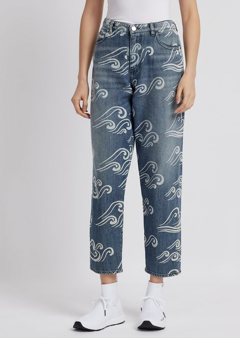 J90 relaxed-fit denim jeans with Blue Waves print