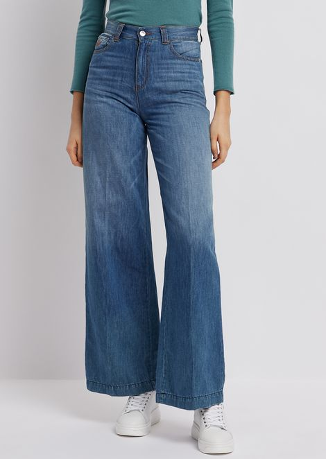 J14 palazzo jeans in worn-effect denim/linen blend