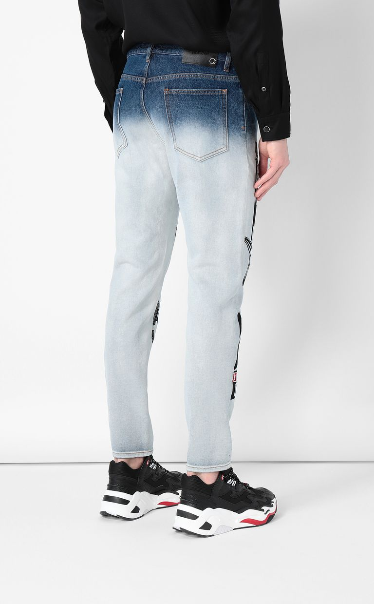 JUST CAVALLI Faded Gabber-fit jeans with prints Jeans Man a