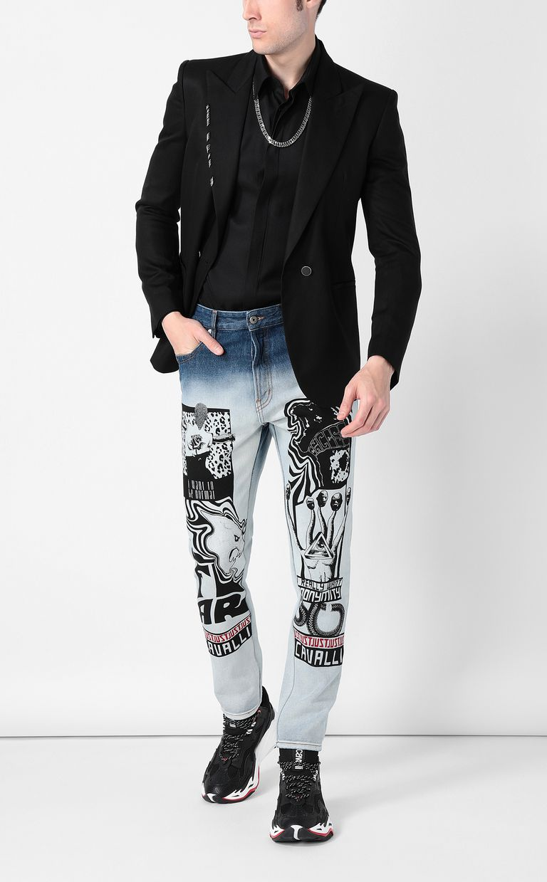 JUST CAVALLI Faded Gabber-fit jeans with prints Jeans Man d