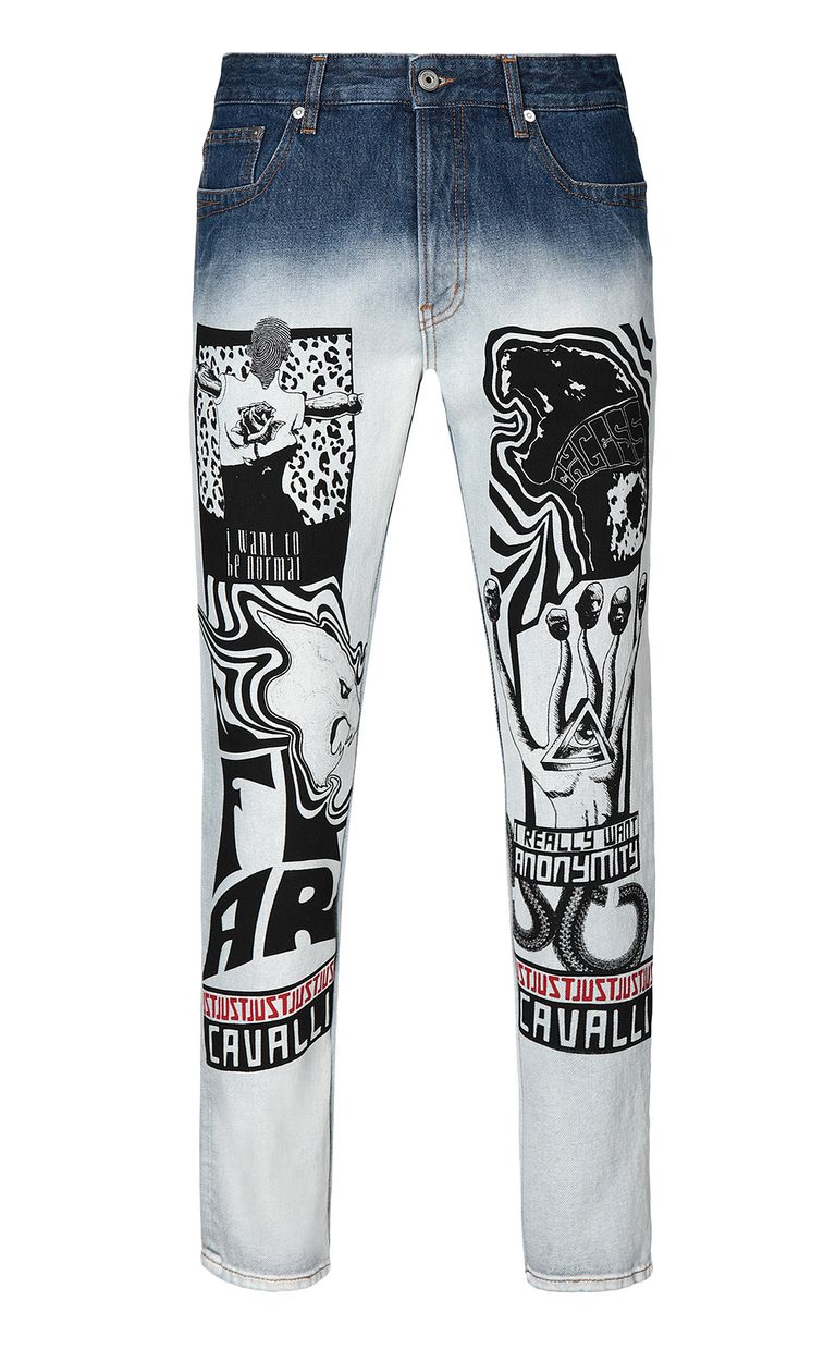 JUST CAVALLI Faded Gabber-fit jeans with prints Jeans Man f