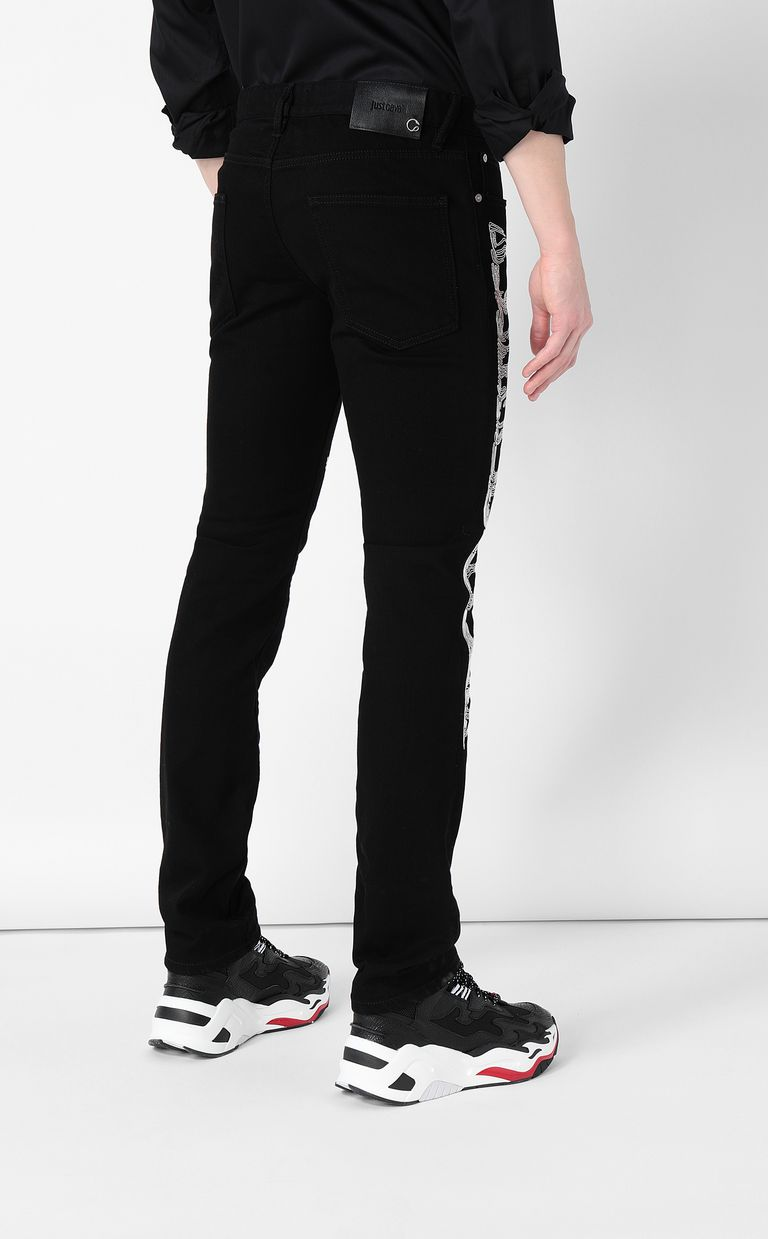 JUST CAVALLI Tiger-embroidered Just-Fit Jeans Jeans Man a