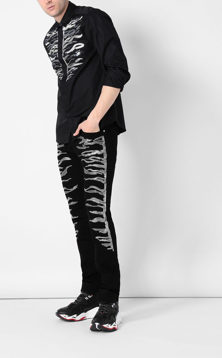 JUST CAVALLI Tiger-embroidered Just-Fit Jeans Jeans Man d
