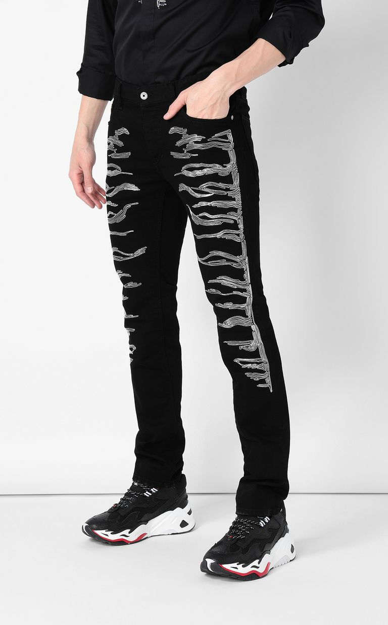 JUST CAVALLI Tiger-embroidered Just-Fit Jeans Jeans Man r