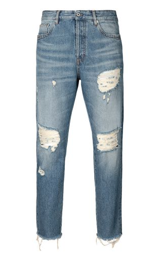 JUST CAVALLI Jeans Man Faded Gabber-fit jeans with prints f