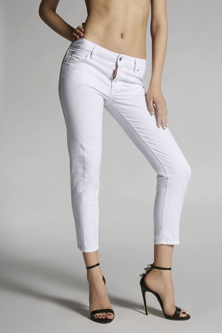 DSQUARED2 Stretch Bull Garment Medium Waist Cropped Twiggy Jeans 5 pockets Woman