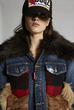 DSQUARED2 Wool Check Canadian Mixed Fabrics Bomber Denim outerwear Woman