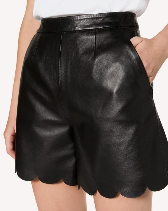 REDValentino Leather shorts with scallop detail