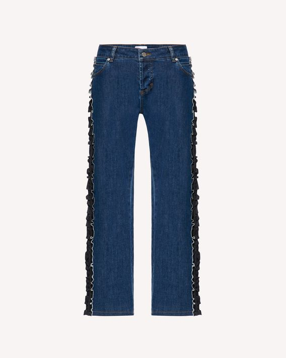 REDValentino Denim trousers with side ruffles