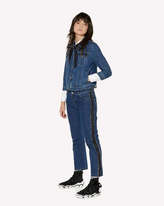 REDValentino Denim pants with side ruffles