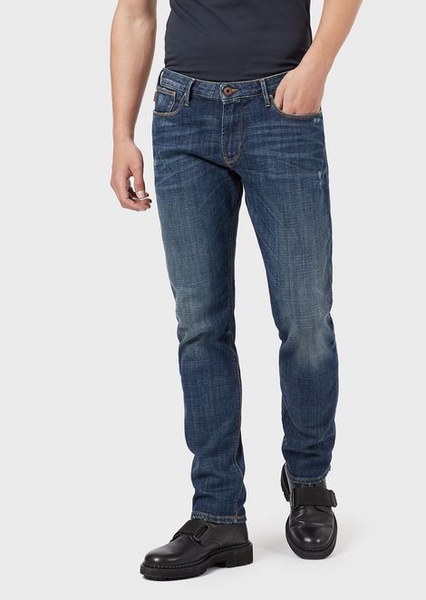 Slim-fit J06 comfort-denim jeans with vintage details