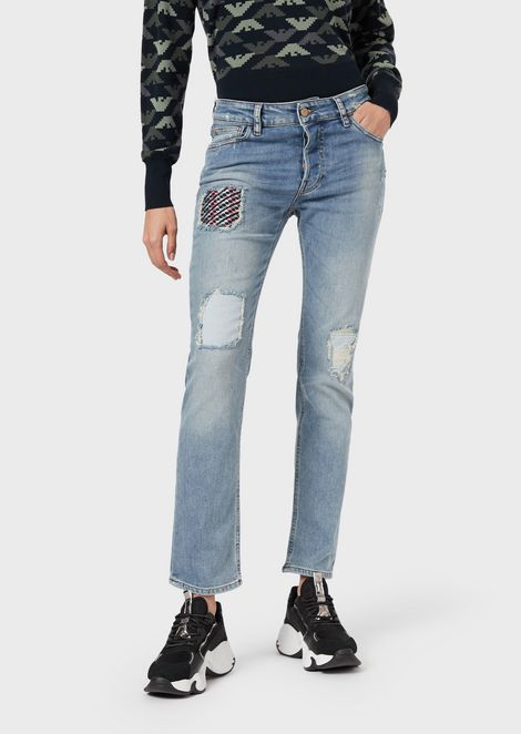 J60 straight-slim jeans in ripped comfort denim