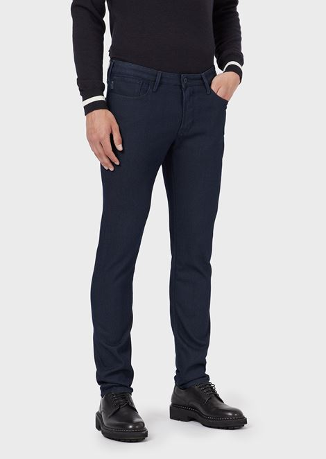Slim-fit textured jeans in dyed thread