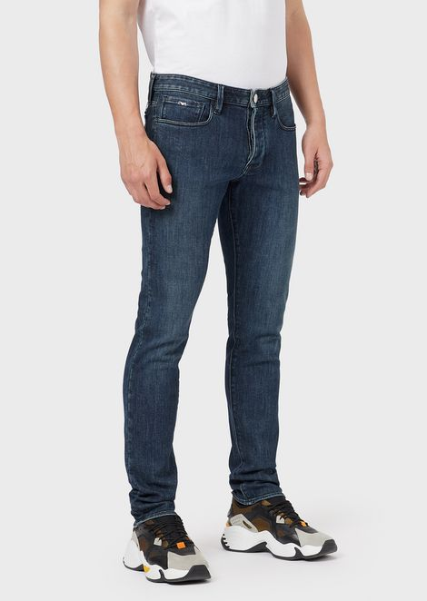Slim-fit J75 jeans in mixed-silk denim