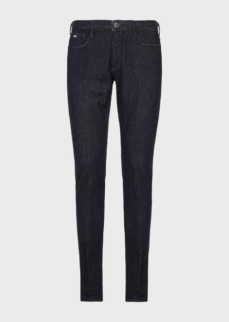 Slim-fit J75 jeans in mixed-silk denim