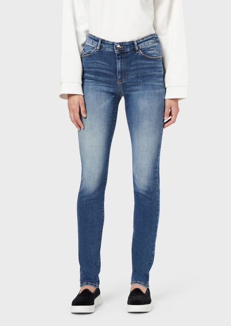 J18 super-skinny jeans in stone-washed denim