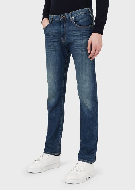 Regular-fit J45 stretch cotton denim jeans