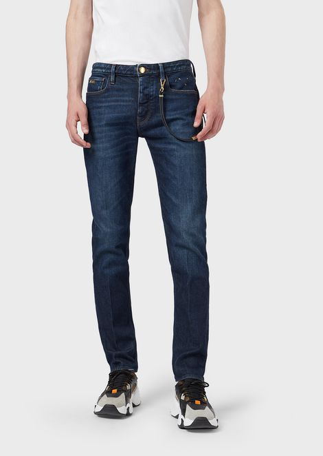 Slim-fit J75 jeans in worn denim with gold-plated details