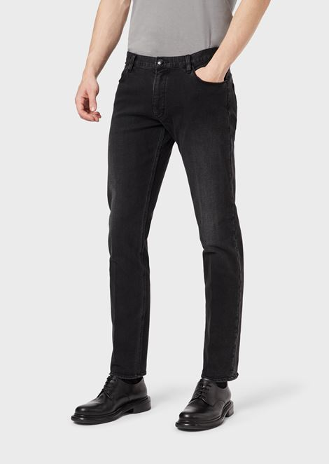 Slim-fit, low-waisted jeans made from 10.5 oz. stretch cotton denim