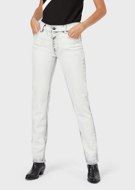 J60 straight-slim jeans in marble-effect stretch denim