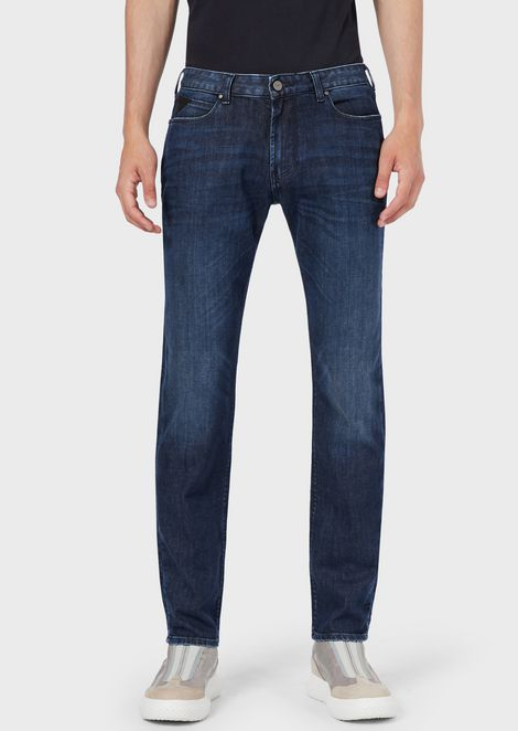 Slim-fit J36 jeans in medium-wash comfort twill