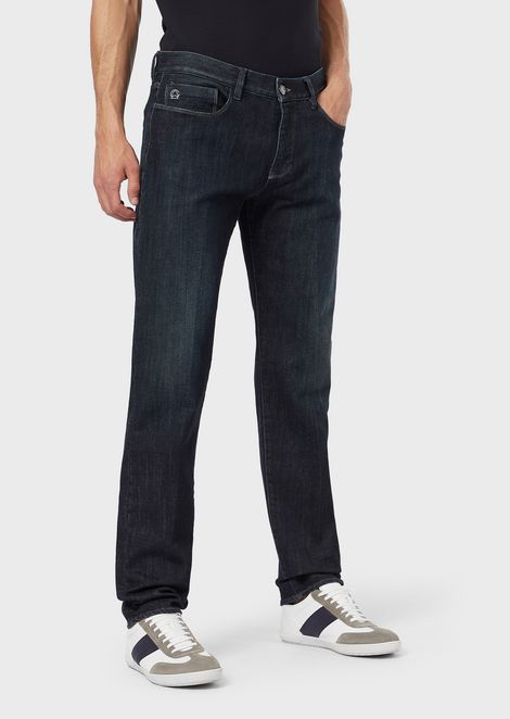 Regular-fit, 11 oz. garment-washed denim jeans with a soft handle