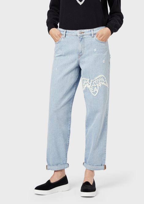 J89 boyfriend jeans in vintage denim with maxi embroidered eagle
