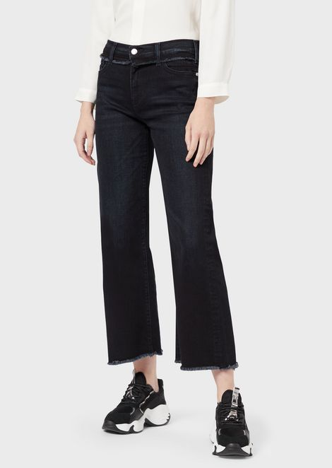 J33 wide-ft cropped comfort denim jeans with fringe details