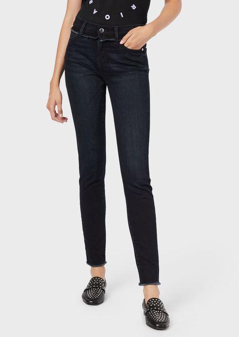 J20 super-skinny denim jeans with fringe details